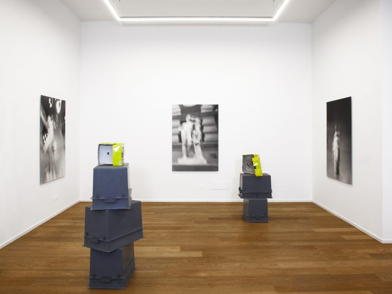 (on walls) Museum Rules, 2021, black and white gelatin silver prints, 150 x 104.5 cm, edition of 3 each; (floor) Postal Summary, 2021, shipping box, photo emulsion