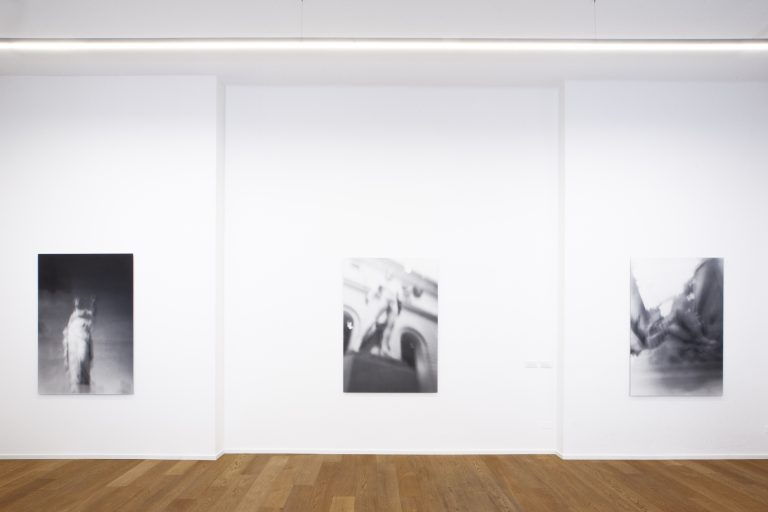 (left) Museum Rules (Temperance), 2021; (centre) Museum Rules (Perseus with the Head of Medusa), 2021; (right) Museum Rules (Andromeda and the Sea Monster), 2021, black and white gelatin silver prints, 150 x 104.5 cm, edition of 3 each