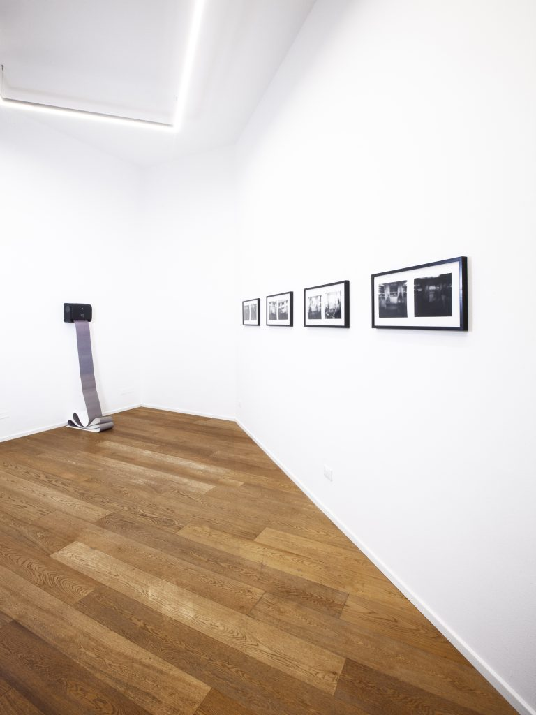 (left) Wavecaster, 2021, photo sensitive paper, automatic paper towel dispenser, edition of 5; (right) End to End series (Milan Subway), 2021, Black and white gelatin silver prints, 32.4 x 67.8 cm each (framed), edition of 10